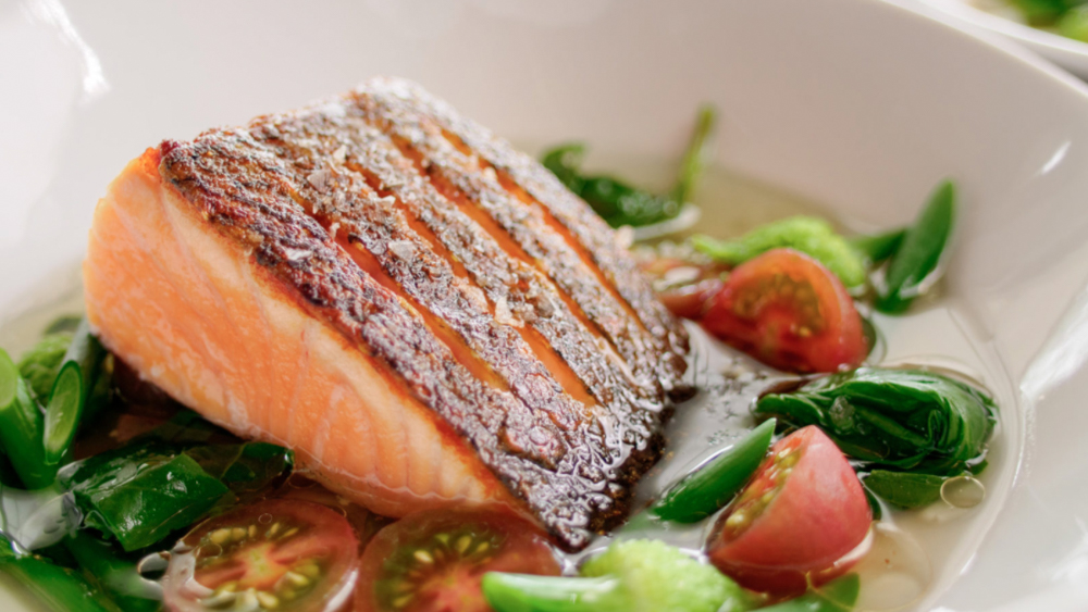 crispy salmon on a plate