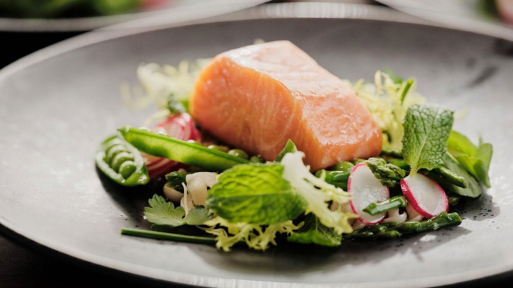 Salmon on a salad