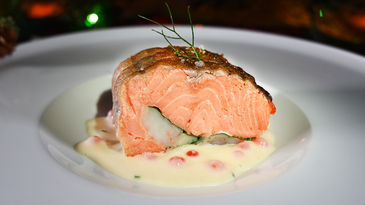 Roasted Chilean Coho Salmon, Scallop and Shrimp Stuffing, Horseradish Butter Sauce, Salmon Roe Garnish