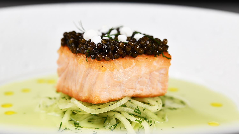 Seared Chilean Salmon, Cucumber Gazpacho, Osetra Caviar 4x4