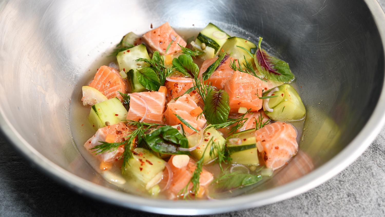 Pickled Salmon Loin, Cucumber, Mapuche Pepper, Amaranth Leaf, Herbs 16x9