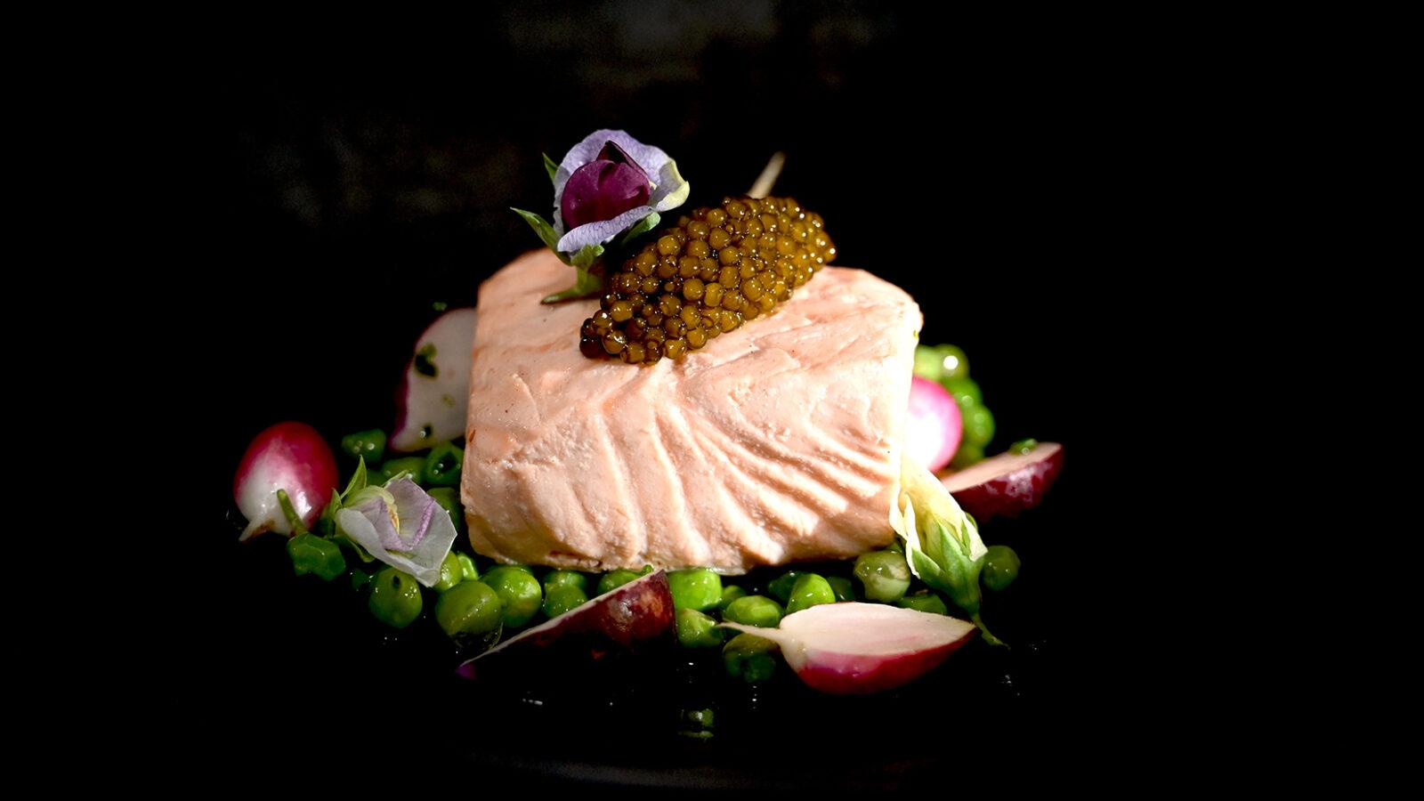 Salmon English Peas, Radish, Osetra Caviar 16x9 LowRes